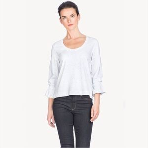 Lilla P Gathered Sleeve Scoop Neck Top NWT